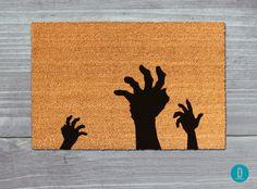 Zombie Doormat, Zombie Door Mat, Halloween Doormat, Halloween Door Mat, Halloween Welcome Mat, Zombie Welcome Mat, Halloween Decor, Zombies by TheDoormatory on Etsy https://www.etsy.com/listing/482844197/zombie-doormat-zombie-door-mat-halloween