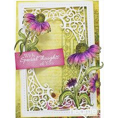 Blooming Thoughts Any Occasion Handmade Card - A delicate handmade greeting card designed to deliver well wishes for any occasion! This elegant papercraft project has been created with the Backyard Blossoms Collection from Heartfelt Creations, and has been beautifully framed with a pretty frame die cut also by Heartfelt Creations! Save now! #HeartfeltCreations #anyoccasioncard #bithdaycard #thinkingofyou #cardsample #diycrafts #diy #cardmaking #scrapbooking #craftsupplies #handmadecard…