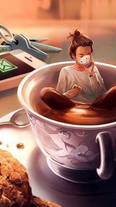 Jihan alkhwaja ( - [board_name] - Guten Morgen Coffee Girl, I Love Coffee, Coffee Coffee, Girl Cartoon, Cartoon Art, Girly Drawings, Good Morning Coffee, Coffee Pictures, Digital Art Girl