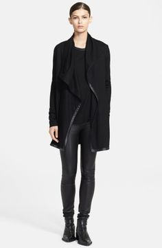 Keep • Helmut Lang 'Sonar' Leather Trim Open Wool Jacket | No