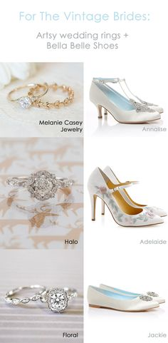 45047c99a63f2 Artsy vintage wedding rings and wedding shoes by Bella Belle Shoes for  vintage brides. Whether