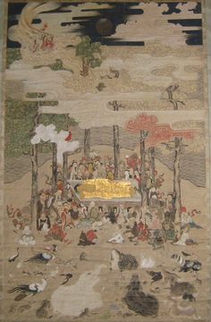 Japanese Buddhist Scroll of Parinirvana -  Beautiful antique Japanese temple scroll from the Edo period (1615 -1867)