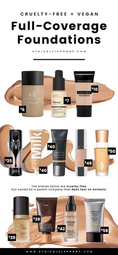 Your search for the best cruelty-free and vegan full-coverage foundations is over with this list! From drugstore to high-end! #jeunesse #maquilaje #ageless #venezuela