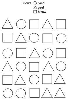 Thema Dieren/Circus - Combine Look Preschool Printables, Preschool Worksheets, Preschool Shapes, Shapes Worksheets, Kindergarten Activities, Activities For Kids, Kindergarten Apples, Shapes For Kids, Kids Education