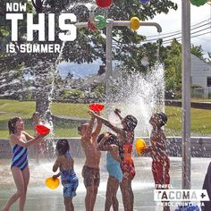 80 and hotter all week. Time to get a little wet.  Tacoma has 10 free sprayground parks. Perfect for this hot weather!