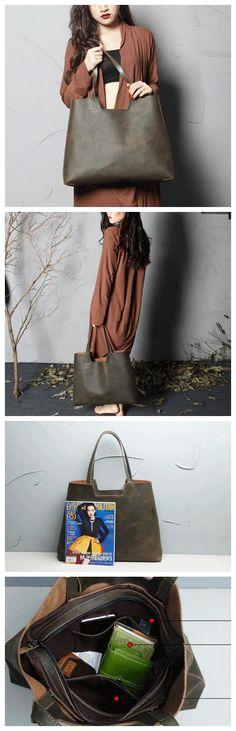 Handmade Genine Leather Tote Bag, Women Shopper Bag, Shoulder Bags