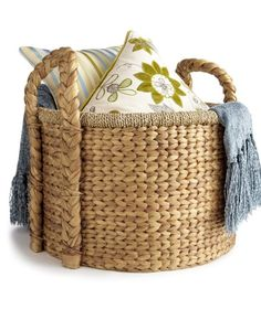 Pier 1 imports basket, pillows and blanket