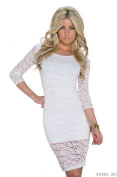 Εξώπλατο δαντελένιο μίνι φόρεμα - Άσπρο