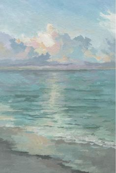 'Tranquil Waters' Acrylic Painting Print on Canvas 'Tranquil Waters' Acryl schilderij Print op Canvas Seascape Paintings, Painting Prints, Beach Paintings, Ocean Paintings On Canvas, City Painting, Painting Of Water, Oil Paintings, Painting Art, Basquiat Paintings
