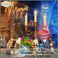 Magic 1 IA Pack (FS/CU/S4H) [CCD] : Scrap and Tubes Store, Digital Scrapbooking Supplies Packing, Paper Size, Scrapbook Supplies, Digital Scrapbooking, Birthday Candles, Magic, Vector Illustrations, Psp, Digital Image