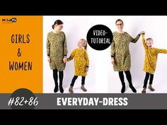 Sweatkleid für Damen und Mädchen ganz einfach selber nähen DIY-Näh-Tutorial - YouTube Everyday Dresses, Skinny, Youtube, Kids, Sewing, Simple, Dress Skirt, Women's, Children