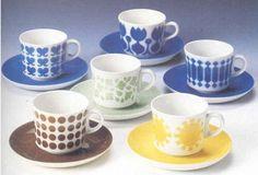 arabia2 Coffee Cups, Tea Cups, Kitchenware, Tableware, Vintage Cups, Porcelain Ceramics, Scandinavian Style, Finland, Dinnerware