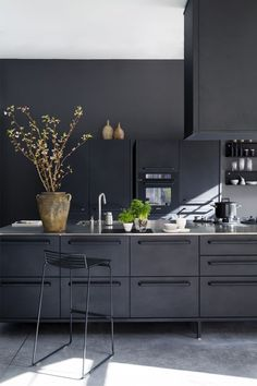 sleek, black matte kitchen design