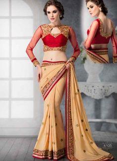 Angelic Cream Embroidered Booti Work Designer Sarees  http://www.angelnx.com/Sarees/Designer-Sarees