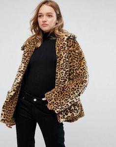 Monki Leopard Faux Fur Jacket