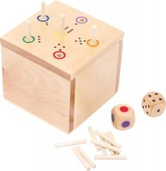 Small Foot Drevená hra s kockou Scrabble, Bingo, Sudoku, Wooden Dice, Dice Games, Fine Motor Skills, Toy Chest, Storage Chest, Box