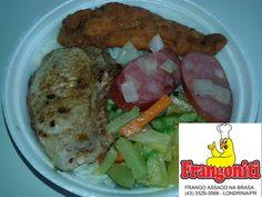 Cardápio do dia: Bisteca de porco, filé de frango frito, calabresa acebolada, refogado de legumes, arroz com feijão mais a salada...