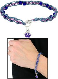 Wakami Beaded Purple Paw Bracelet at The Animal Rescue Site..macrame with purple and teal shades, paw charm, silver findings