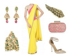 Manisha Malhotra sari from Pernia's Pop-up Shop, Jhumka Earrings Brooch from Accessories Online, Bracelet from Net-A-Porter, Matthew Williamson Clutch from Net-A-Porter,Heels from ASOS Indian Wedding Outfits, Indian Outfits, Indian Weddings, Sangeet Outfit, Indian Princess, Desi Wear, Indian Couture, Indian Bridal, Asian Fashion