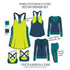 A very strong and fresh Fashion Set, it has the latest style apparels for Women Performance and Sportswear Clothing. All templates are with Front and Back view Sport Style, Fashion Flats, Fashion Outfits, Fashion Tips, Fashion Trends, Latest Fashion, Fashion Websites, 50 Fashion, Women's Dresses