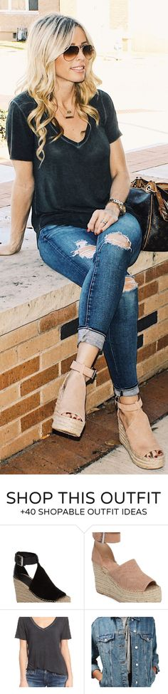 #winter #outfits /  Black Tee / Ripped Skinny Jeans / Beige Platform Pumps