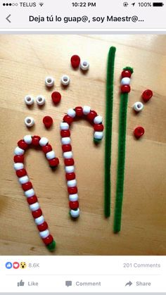 Holiday craft for toddler? Candy canes and pipe cleaners