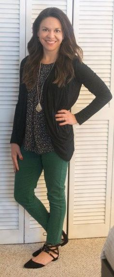 Liverpool Cameryn Skinny Pant Collective Concepts Hunter Crochet Trim Top Pixley Martina Slub Knit Open Cardigan Stitch Fix Review February 2017  #stitchfix #somuchtoenjoy @stitchfix