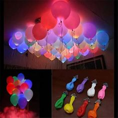 Buy LED Balloon Light balloon 12 Inches Latex Multicolor Helium Balloon Christmas Hollween Decor Wedding Party ballon led ball at Wish - Shopping Made Fun Glow In Dark Party, Glow Party, Neon Birthday, 13th Birthday Parties, Christmas Birthday, Sleepover Party, Slumber Parties, Light Up Balloons, Helium Balloons