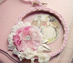Shabby Tulle-Covered Mini Hoop Ornament With a Vintage Image, Lace, and Flowers