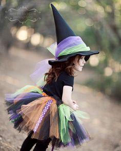Fancy Witch Tutu, Sparkling Satin Witch Hat...2T-5T...Black, Orange, Lime, Purple Tulle & Ribbon SEWN Tutu