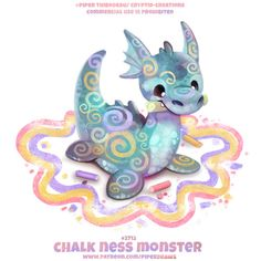 Chalk Ness Monster - Word Play by Cryptid-Creations on DeviantArt Cute Kawaii Animals, Cute Animal Drawings Kawaii, Cute Cartoon Animals, Cute Fantasy Creatures, Mythical Creatures Art, Cute Creatures, Animal Puns, Animal Food, Cute Food Drawings