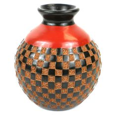 This relief design is all handmade. A perfect piece of pottery for your home.  6 inch Tall Vase - Checkers Relief - by Esperanza en Accion available at ArtisansExchange.org