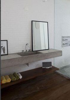 18 Ideas decor apartment bathroom sinks for 2019 Lavabo Design, Basin Design, Concrete Bench, Concrete Bathroom, Simple Furniture, Inexpensive Furniture, Bathroom Furniture, Bathroom Interior, Greige