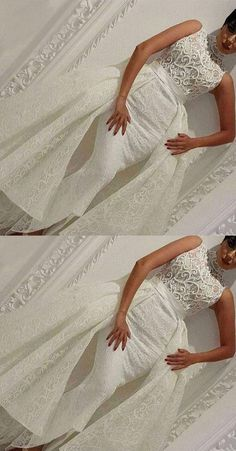 Mermaid Dresses,High Neck Dresses,Asymmetrical Prom Dresses,Ivory Dresses vp7491 by VestidosProm, $234.30 USD Ivory Prom Dresses, Prom Dresses With Sleeves, Mermaid Dresses, Strapless Dress, Dresses Dresses, Pretty Dresses, Wedding Dresses, Prom Heels, Popular Dresses