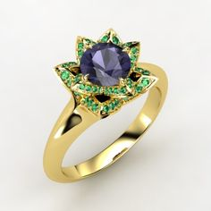 The Lotus Ring #customizable #jewelry #iolite #emerald #gold #ring