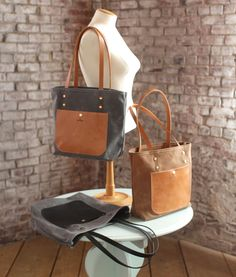 The Jayne Waxed Canvas and Leather Tote