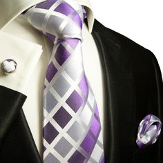Violet and Silver Paul Malone Silk Tie Set (466CH)