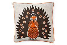 Peacock Pillow, Orange    $45.00