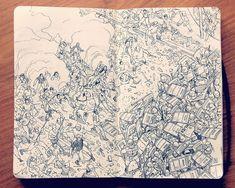 people, army, elaborate sketchbook drawing by Jared Muralt