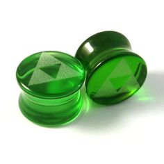 "Triforce Green Glass Plugs 2g (6mm) 0g (8mm) 00g (9mm) (10mm) 7/16"" (11mm) 1/2""(13mm) 9/16""(14mm) 5/8""(16mm) Tri Force Ear Gauges on Etsy, $17.50"