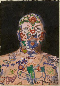 Peter Blake, Tattooed Man 5, 2015, watercolour, 6 x 4 1/4 in / 15.1 x 10.7 cm