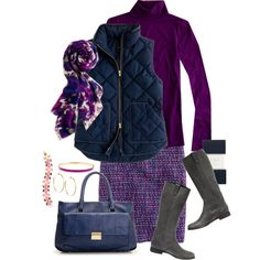 how to wear a quilted vest to work:  slim turtleneck, quilted vest, tweed skirt, printed scarf, knee boots, streamlined bag