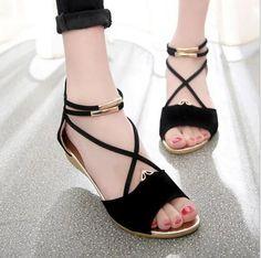 Spring&Summer 2016 Women Open Toe Flat Back School Sweet Korean Version  Shoes Sz