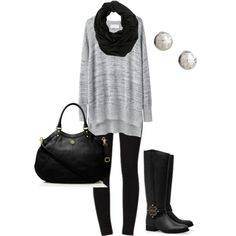 """Gray & Black"" by honeybee20 on Polyvore"
