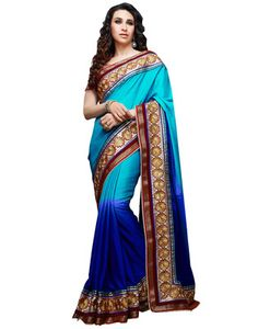 Sky-blue & voilet embroidered chiffon saree with blouse