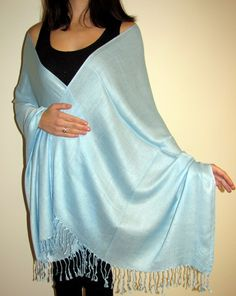Wear soft blue shawls it is trendy women's scarf wrap color for spring & summer that adds beauty to any outfit.