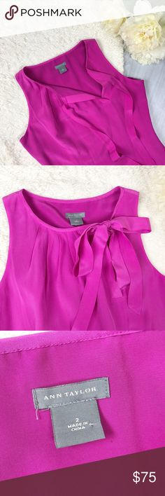Ann Taylor Sleeveless Dress Ann Taylor Sleeveless Dress Size 2 Excellent Used Condition! 100% Silk Perfect for Easter! Cute pleated and optional tie neckline  Feel free to ask for measurements!  MAKE AN OFFER! Ann Taylor Dresses