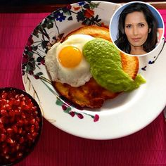 Bite Size: What Your Favorite Stars Are Eating & Drinking Right Now | PADMA LAKSHMI | We'll have what she's having! Kristin Kish, the winner of Top Chef season 10, made the Top Chef judge a hearty breakfast for #TastyTuesday: a savory pancake topped with a fried egg and green salsa.  (I like the plate, I wonder who makes it?)