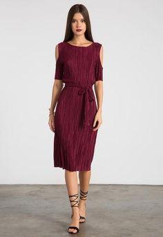 Brielle Cold Shoulder Pleated Satin Dress