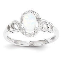 10k White Gold Genuine Opal Diamond Ring – Sparkle & Jade